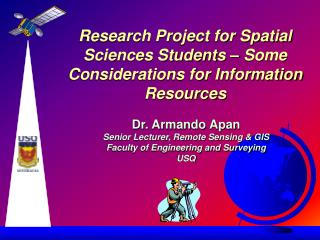 Research Project for Spatial Sciences Students – Some Considerations for Information Resources