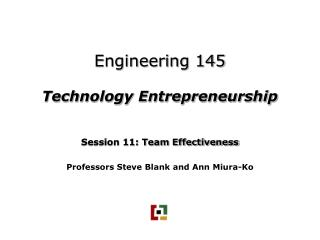 Engineering 145 Technology Entrepreneurship