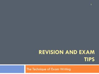 Revision and exam tips