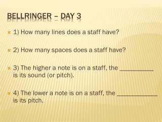Bellringer  – Day 3