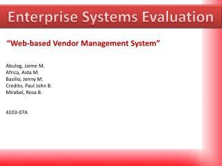 Enterprise Systems Evaluation