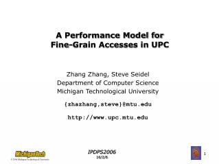 A Performance Model for Fine-Grain Accesses in UPC