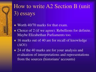 How to write A2 Section B (unit 3) essays