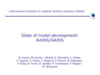 State of model development: RAINS/GAINS
