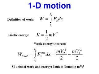 1-D motion