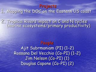 Projects Mapping the DOC on the Eastern US coast