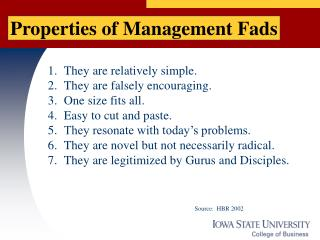 Properties of Management Fads