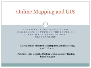 Online Mapping and GIS