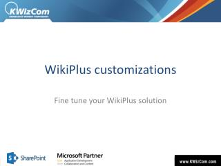 WikiPlus customizations