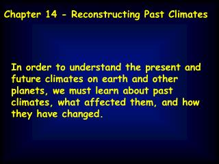Chapter 14 - Reconstructing Past Climates