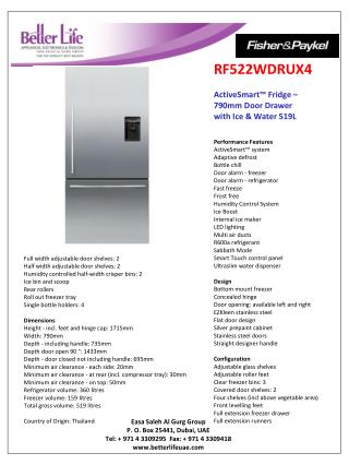 RF522WDRUX4 ActiveSmart ™ Fridge  –  790mm  Door Drawer  with  Ice & Water 519L
