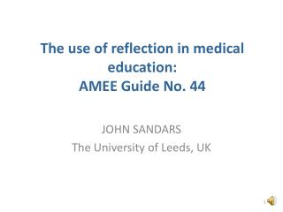The use of reflection in medical education: AMEE Guide No. 44