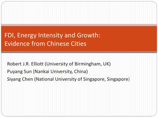 FDI, Energy Intensity and Growth: Evidence from Chinese Cities