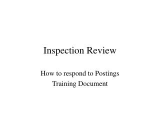 Inspection Review
