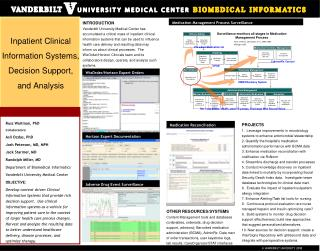 Inpatient Clinical Information Systems, Decision Support, and Analysis