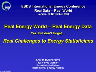 ESDS International Energy Conference Real Data – Real World London, 30 November 2009