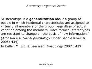 Stereotype=generalisatie