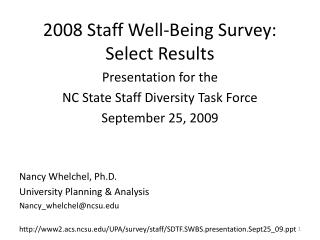 2008 Staff Well-Being Survey: Select Results