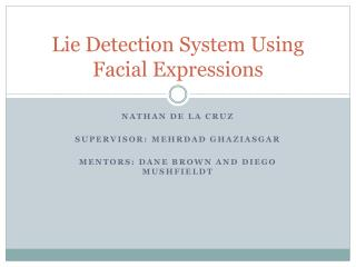 Lie Detection System Using Facial Expressions