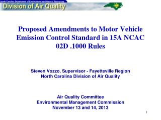 Air Quality Committee Environmental Management Commission November 13 and 14, 2013