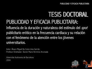 TESIS DOCTORAL PUBLICIDAD Y EFICACIA PUBLICITARIA: