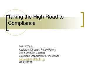 Taking the High Road to Compliance
