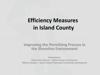 Efficiency Measures  in Island County