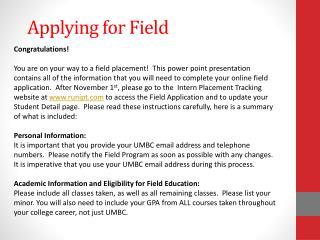 Applying for Field
