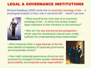 LEGAL & GOVERNANCE INSTITUTIONS