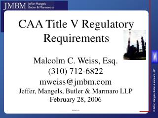 CAA Title V Regulatory Requirements