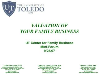 VALUATION OF YOUR FAMILY BUSINESS