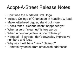 Adopt-A-Street Release Notes