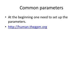 Common parameters