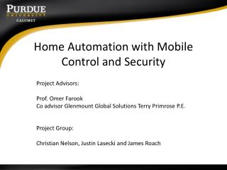 Home Automation with Mobile Control and Security