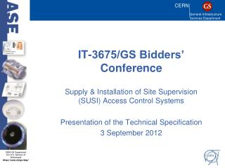 IT-3675/GS Bidders' Conference