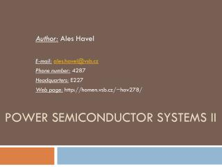 Power Semiconductor Systems  II