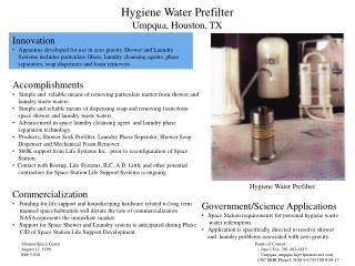 Hygiene Water Prefilter Umpqua, Houston, TX