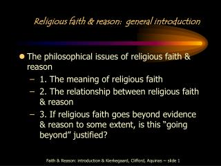 Religious faith & reason:  general introduction