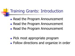 Training Grants: Introduction