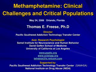 Methamphetamine: Clinical Challenges and Critical Populations