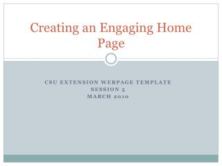 Creating an Engaging Home Page