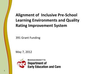 Alignment of  Inclusive Pre-School Learning Environments and Quality Rating Improvement System