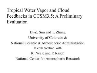 Tropical Water Vapor and Cloud Feedbacks in CCSM3.5: A Preliminary Evaluation