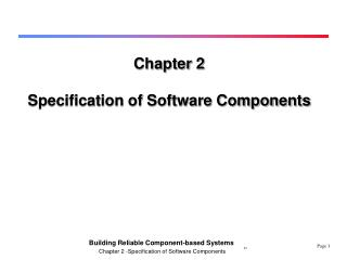 Chapter 2 Specification of Software Components