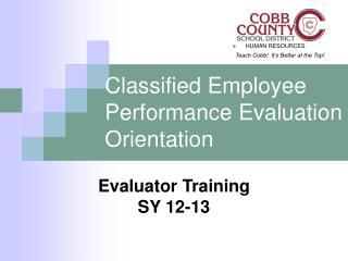Classified Employee Performance Evaluation Orientation