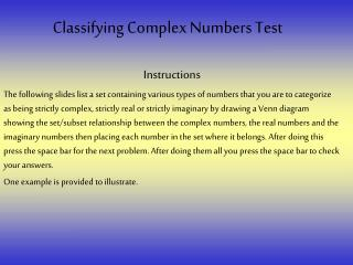 Classifying Complex Numbers Test