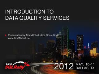 Introduction to  Data quality services