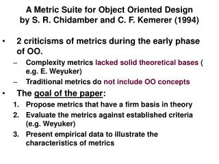 A Metric Suite for Object Oriented Design by S. R. Chidamber and C. F. Kemerer (1994)