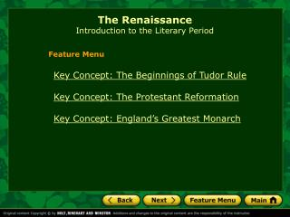 The Renaissance Introduction to the Literary Period