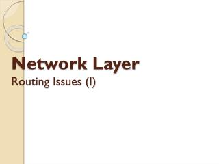 Network Layer Routing  Issues (I)